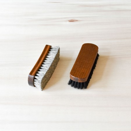 Set of 2 Shine Brushes, 100% horsehair