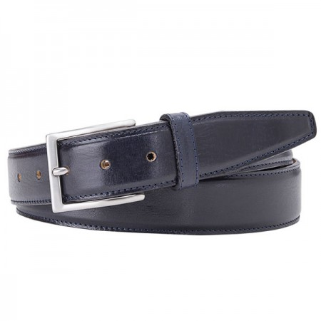 Navy Calf Leather Belt By Profuomo