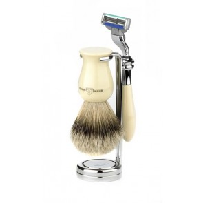 3 Piece Plaza Shaving Set, Super Bagder, by Edwin Jagger - Ivory Marble