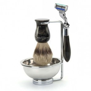 4 Piece Plaza Shaving Set, Silver Tip, by Edwin Jagger - Black Marble