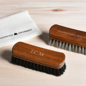 Engraved Shoe Shine Brush Set, 100% horsehair