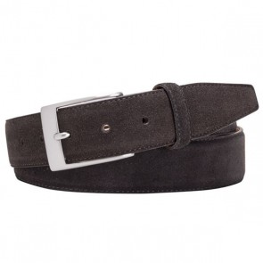 Dark Brown Suede Leather Belt By Profuomo