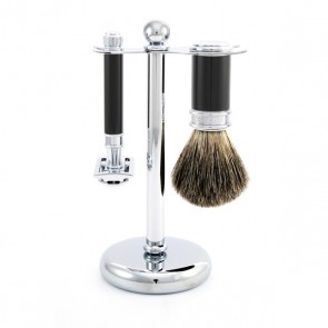 3 Piece Safety Razor Shaving Set by Edwin Jagger - Black